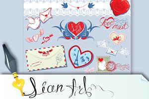 Collection of love mail design eleme