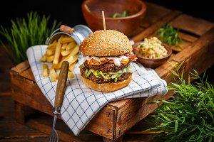 Still life of bacon burger