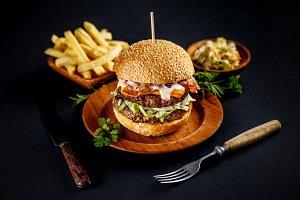 Still life of big tasty burger