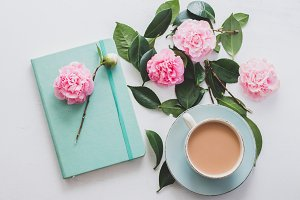 Tea with Journal and Flowers