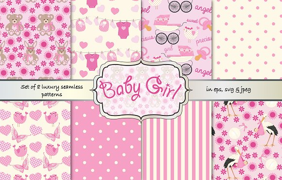 Baby Girl Seamless Vector Patterns