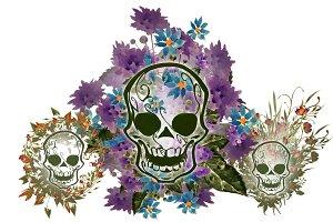 Floral skulls