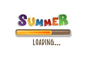 Summer loading bar isolated on white background.