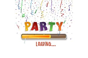 Party loading poster template with confetti and colorful ribbons.