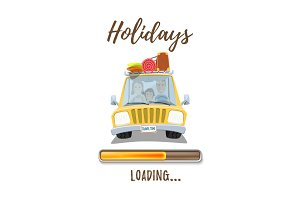 Holidays loading poster template with car and happy family.