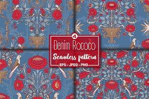 4 Denim Rococo Pattern