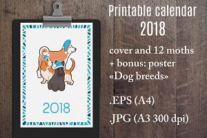Wall Printable Calendar Dogs 2018