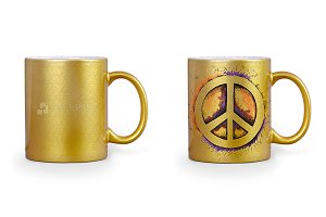 Golden Mug Design Mockup 2-Views