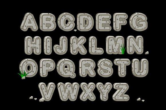 Stone English ABC Cartoon Alphabet
