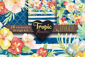 Summer watercolor clipart. Tropic