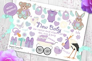 Baby shower vector clipart set