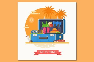 Open Blue Travel Suitcase