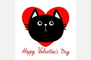 Black cat head icon. Red heart.