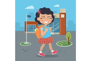 Girl Going in for School with Rucksack