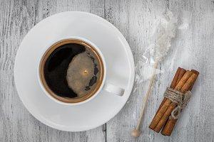 Coffee, sugar and cinnamon