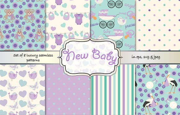 Baby Shower Seamless Vector Patterns