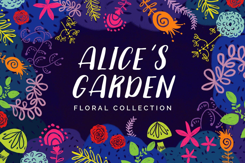 alice 39 s garden floral collection illustrations. Black Bedroom Furniture Sets. Home Design Ideas