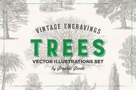 Trees Vintage Illustrations Set