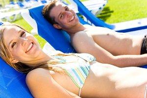 Sunbathing Young Couple