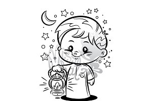 Boy With Lantern: Coloring Page