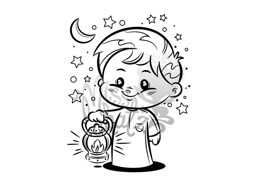 Boy With Lantern: Coloring Page ~ Illustrations ~ Creative
