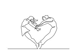 Two people couple make heart in jump