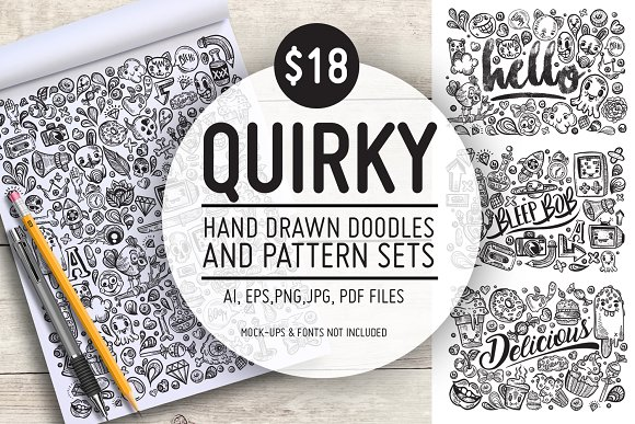 Quirky Hand Drawn Doodles Patterns