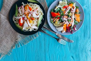 salad and pasta with seafood