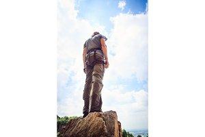 Young Climber Rock Climbing