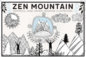 Hand Drawn Zen Mountain Clip Art
