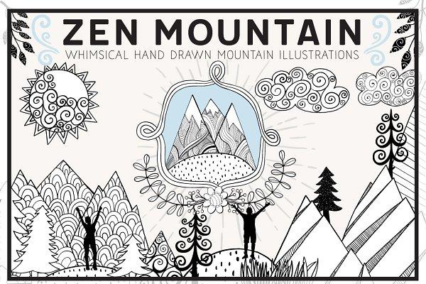 Hand Drawn Zen Mountain Clip Art