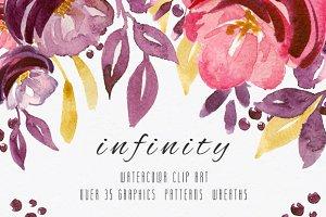 INFINITY. Watercolor Clip Art