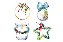 Watercolor Christmas clipart set