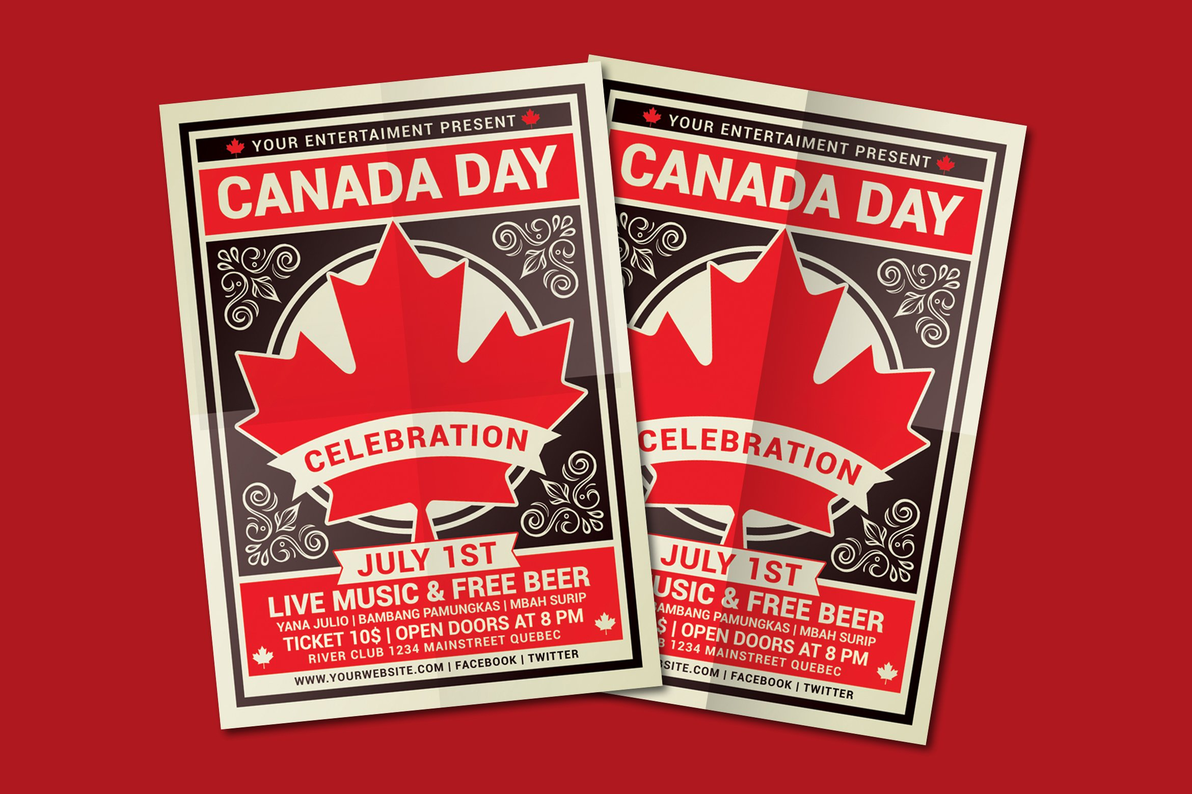 canada day flyer template flyer templates creative market. Black Bedroom Furniture Sets. Home Design Ideas