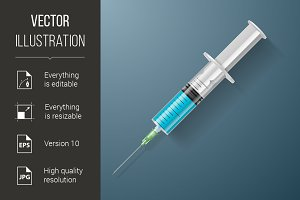 Syringe with blue liquid