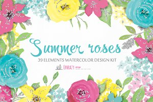Summer roses. Watercolor clipart set