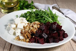 Roasted beets, arugula, cheese feta