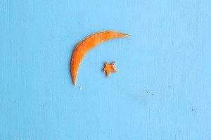 Crescent moon and star for Ramadan. Creative idea.