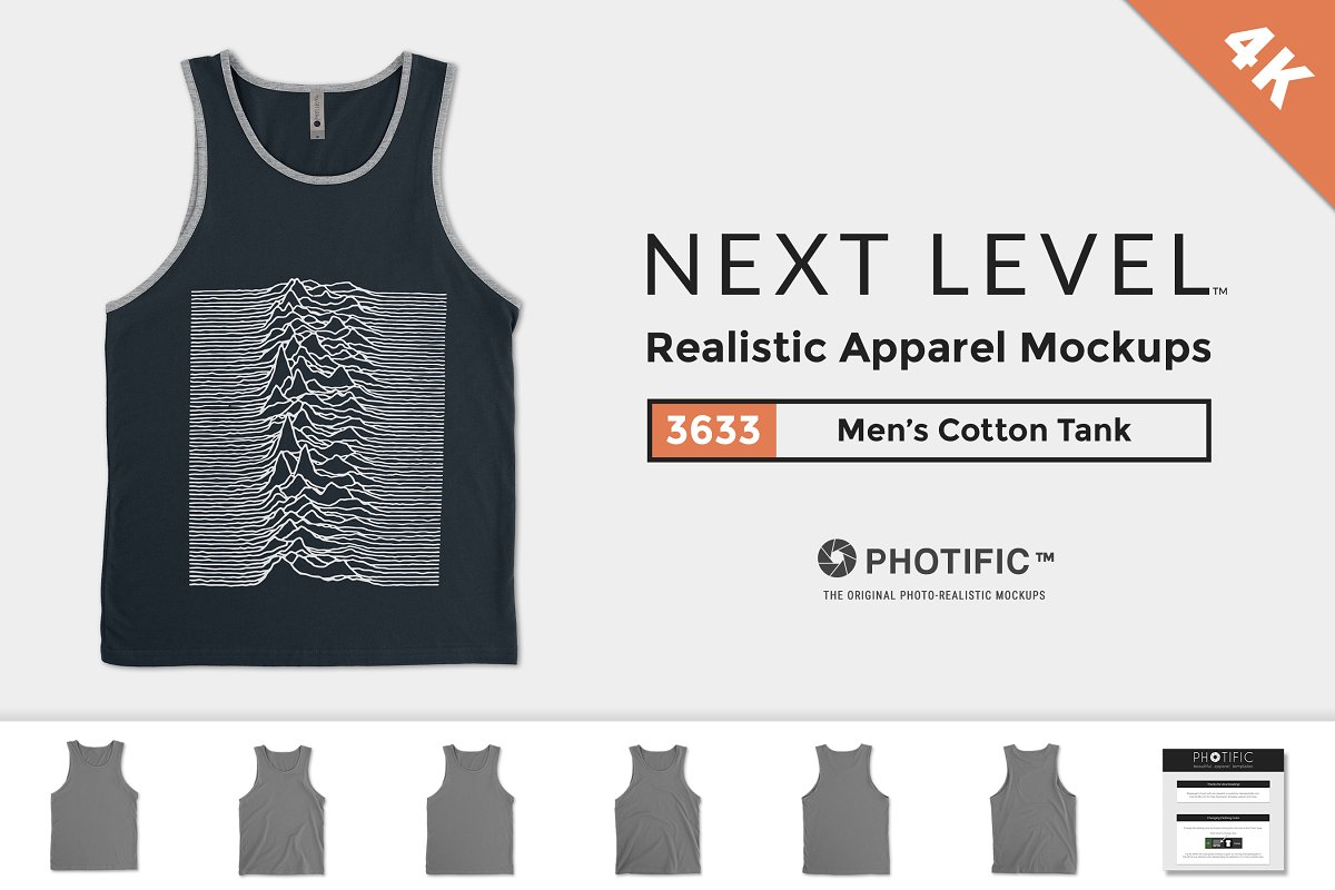 fa59acca8174b Next Level 3633 Mens Cotton Tank ~ Product Mockups ~ Creative Market