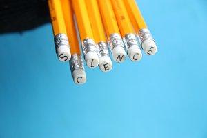 science, inscription on pencil