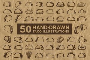 50 Hand-Drawn Taco Illustrations