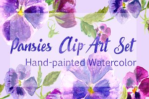 Watercolor Pansies Clip Art Set