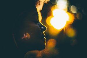 Tilt-shift silhouette of curly girl