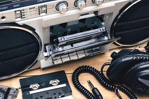 retro cassette deck closeup