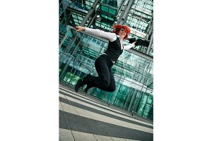 Jumping Businesswoman