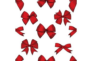 Hand drawn bows vector seamless pattern.