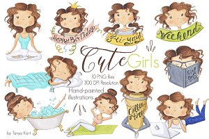 Hand-Painted Clipart Cute girls