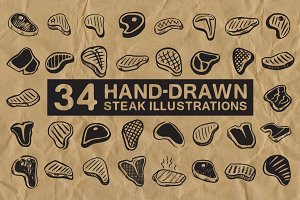 34 Hand-Drawn Steak Illustrations