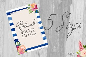 Watercolor striped floral poster