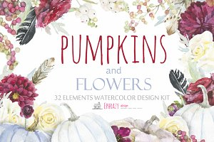 Fall watercolor cliparts. Pumpkin